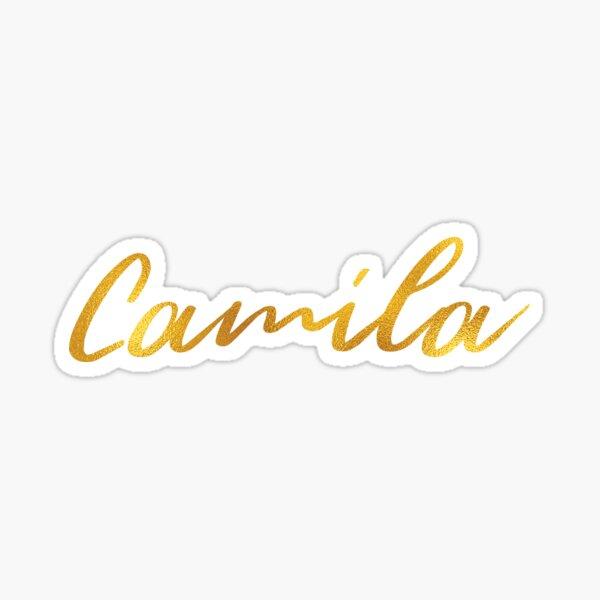 Letras del nombre de Camila en letras doradas falsas Pegatina