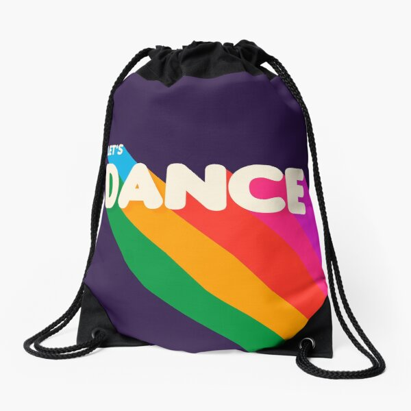 Rainbow dance typography Drawstring Bag