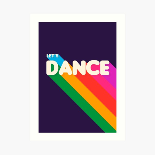 Retro-Typografie inspiriert von Designs der 80er Jahre. Regenbogenfarben und dunkler Hintergrund. Fun Stück sieht gut aus auf Produkten. Mit Showmemars Kunstdruck