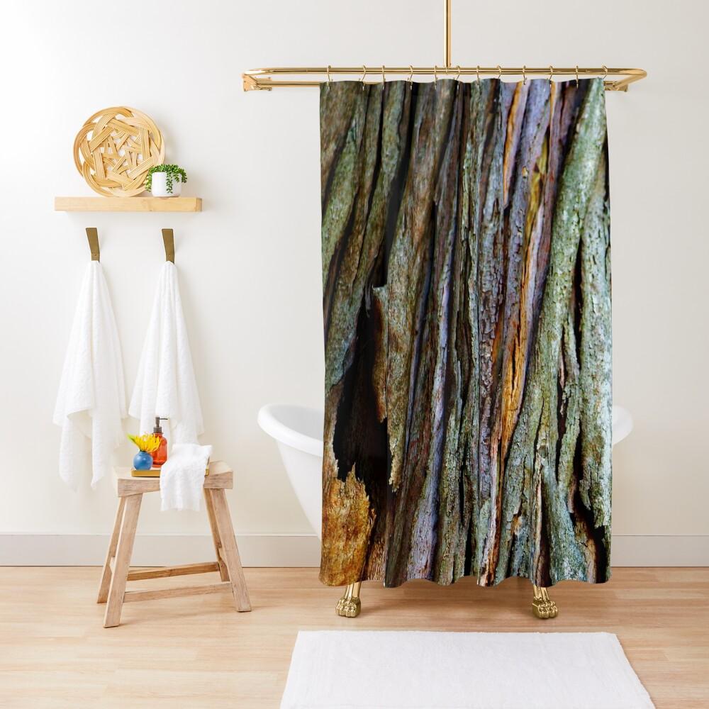 Eucalyptus Tree Bark and Wood Texture 19 Shower Curtain