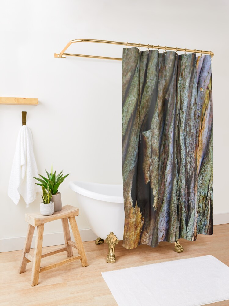 Alternate view of Eucalyptus Tree Bark and Wood Texture 19 Shower Curtain