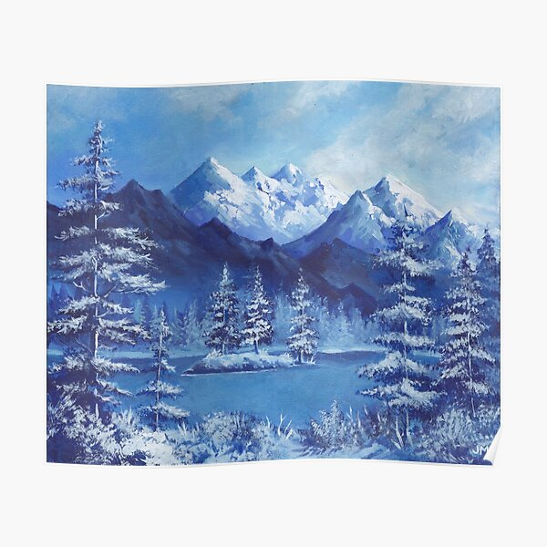 Snowy Blue Mountains With Pine Trees Poster