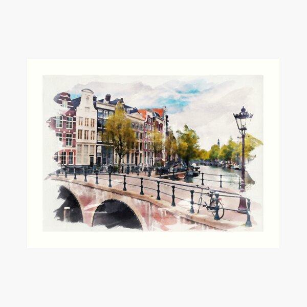 AMSTERDAM, Netherlands Watercolor Art Print
