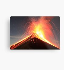 Fuego Erupts on a Moonlit Night Metal Print
