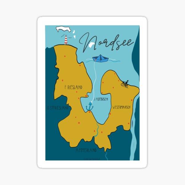 Map Nordsee Norddeutschland  Sticker