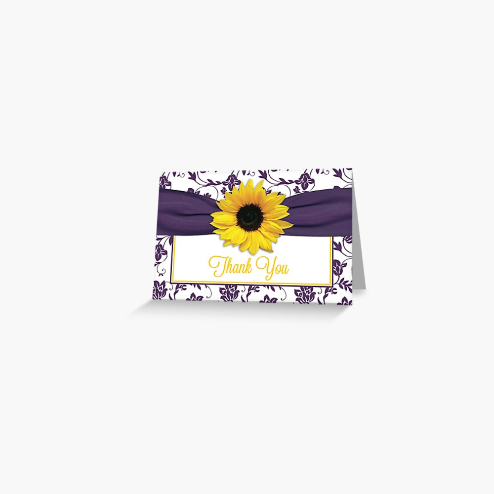 Yellow Sunflower Purple Damask Floral Thank You Card Grußkarte