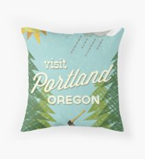 Visit Portland OR Throw Pillow