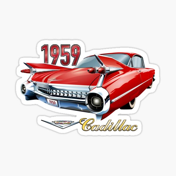 Red 1959 Cadillac Sticker