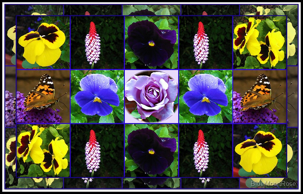 Summer Flowers and Butterfly Collage von BlueMoonRose