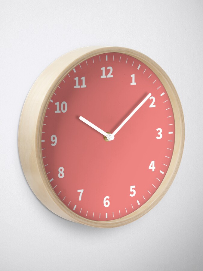 Alternate view of Simple Numbers Light Coral Clock