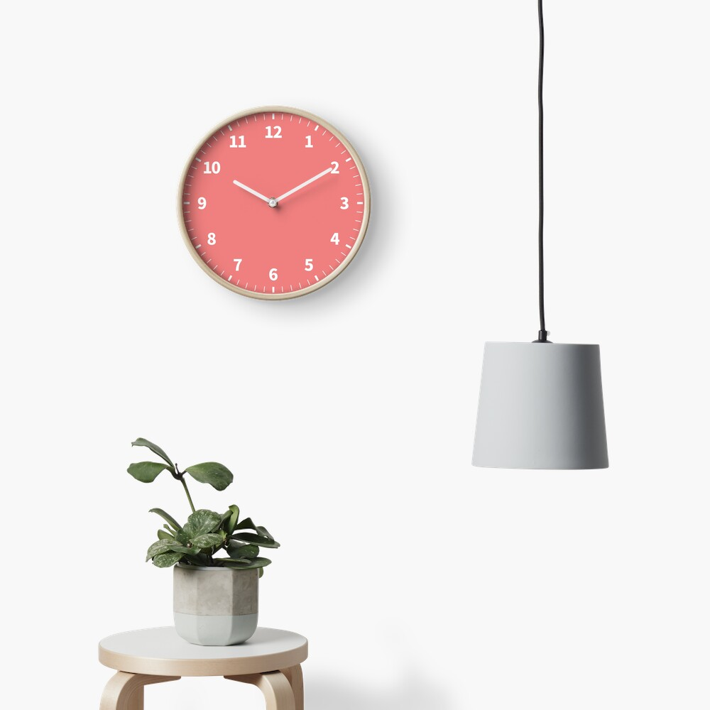 Simple Numbers Light Coral Clock