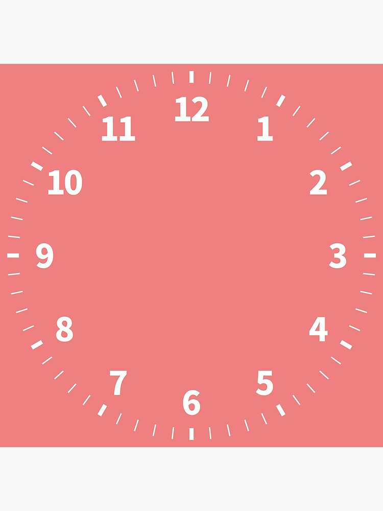 Simple Numbers Light Coral by QuirkyClock