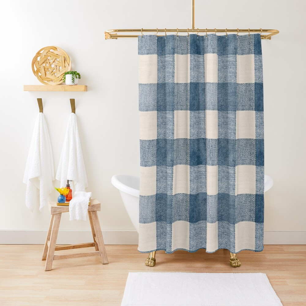 Blue Gingham Plaid Country Shower Curtain