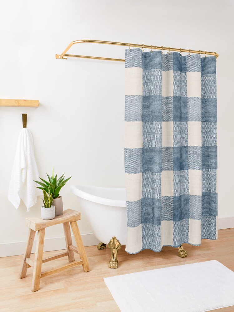 Alternate view of Blue Gingham Plaid Country Shower Curtain