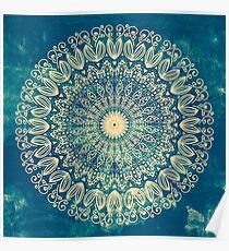 Blaue Bio Boho Mandala Poster