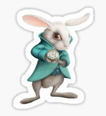 white rabbit with clock Sticker