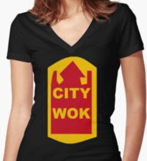 City Wok Chinese Restaurant South Park Women's Fitted V-Neck T-Shirt