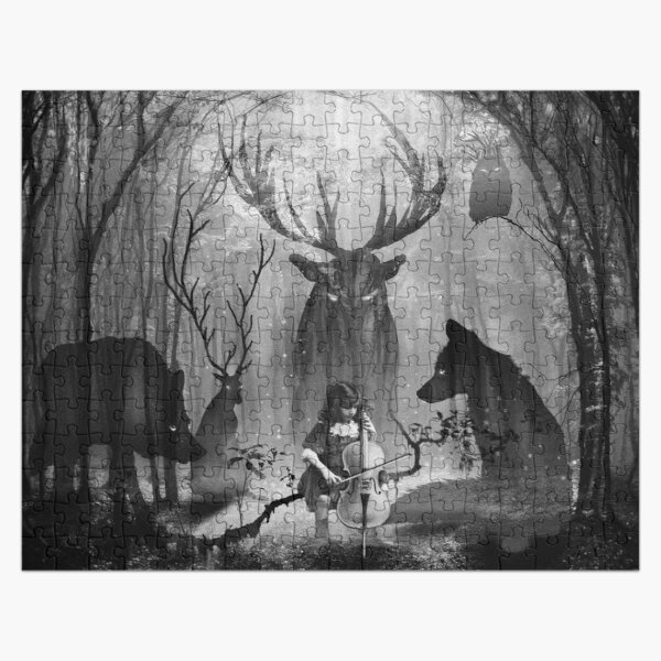 Fox Wolf Deer and Forest Cello Music Jigsaw Puzzle