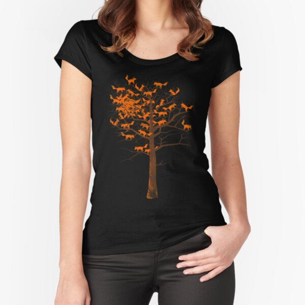 Blazing Fox Tree Fitted Scoop T-Shirt