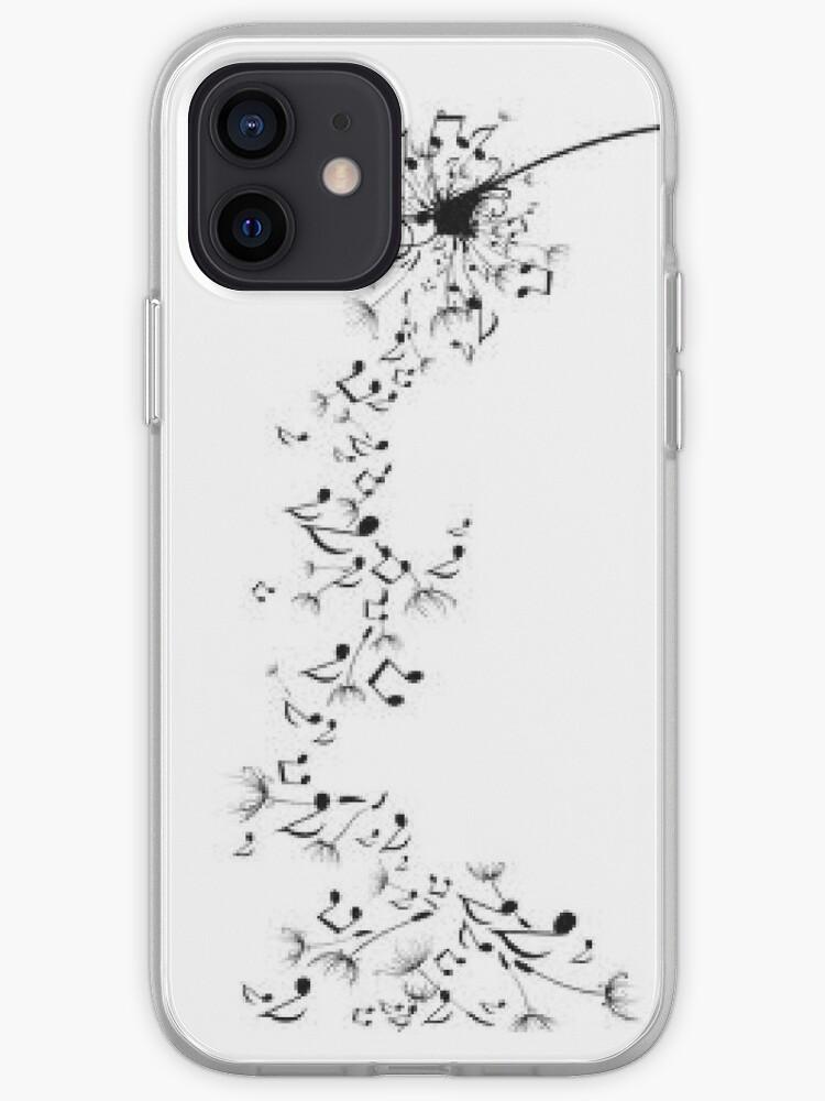 Graines de pissenlit dans des notes de musique   Coque iPhone