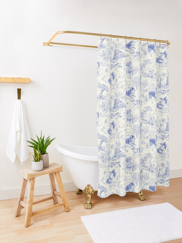 Alternate view of Country Dogs Toile with Collie, Aussie and Jack Russell Terrier in Blue and White Shower Curtain
