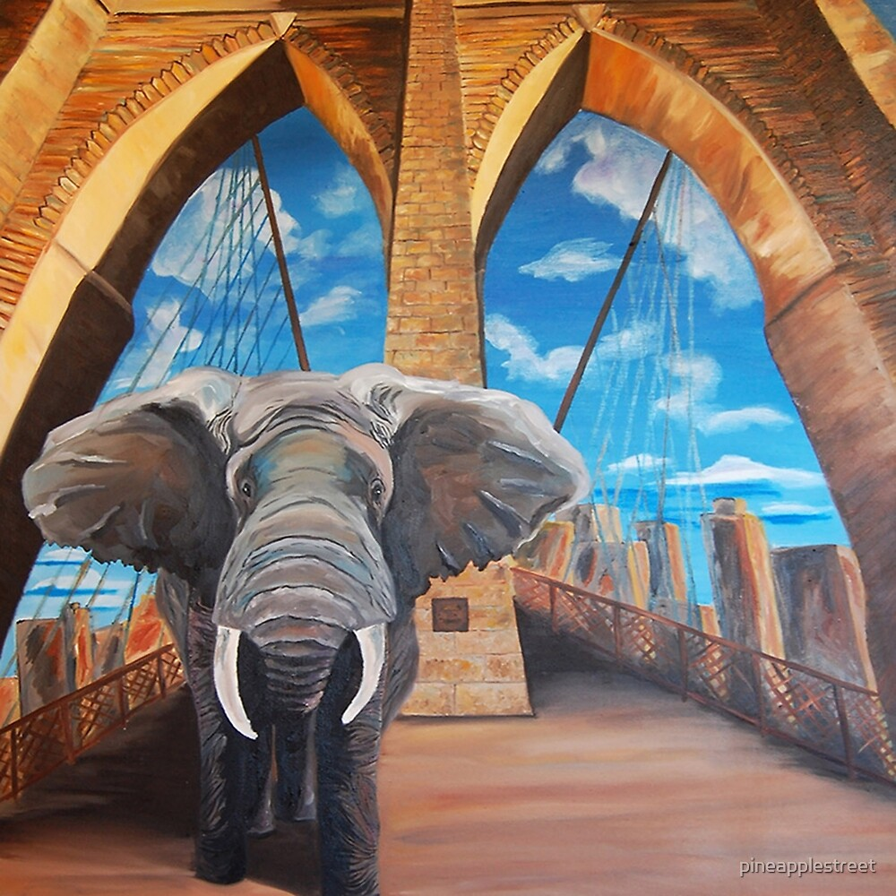 Elephant Crossing the Brooklyn Bridge by pineapplestreet