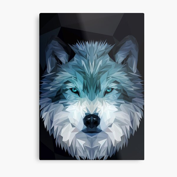 Wolf Low-poly Metal Print