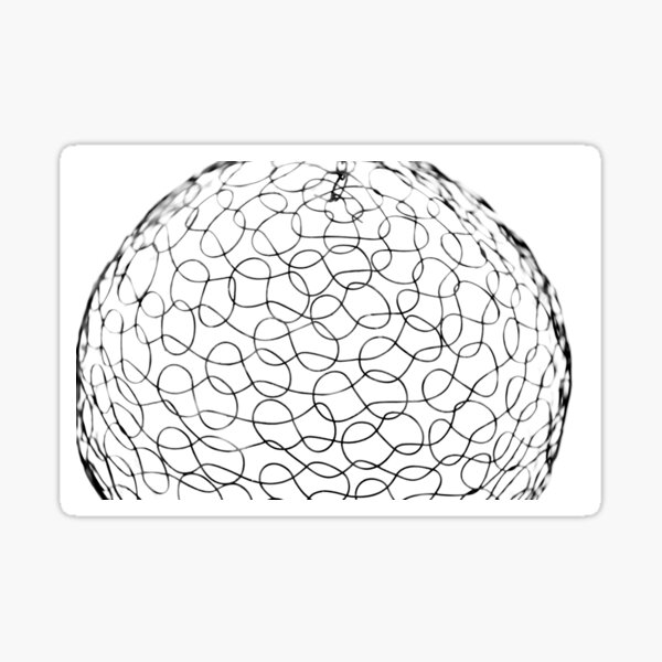 Rounded black and white wireframe texture Sticker