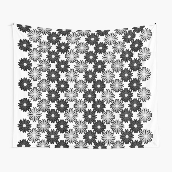 Black and white flower pattern, flowers graphic illustration Tapestry