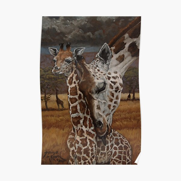 Mommy and young Giraffes Oil Painting Poster