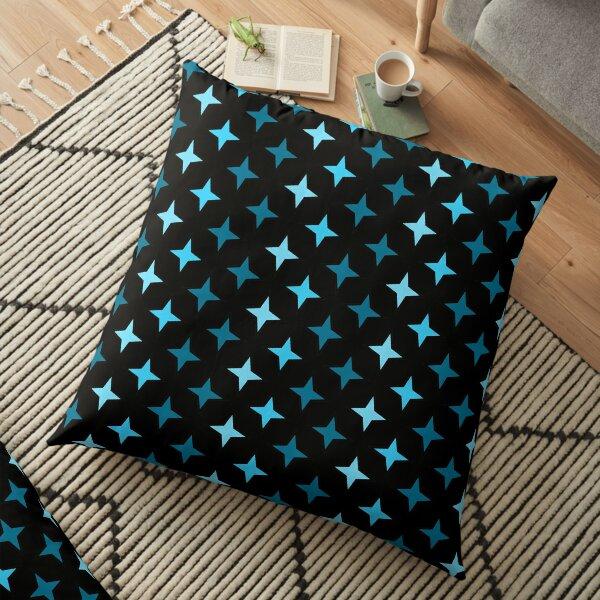 Motif étoiles bleu sur fond noir, composition motif étoile Coussin de sol