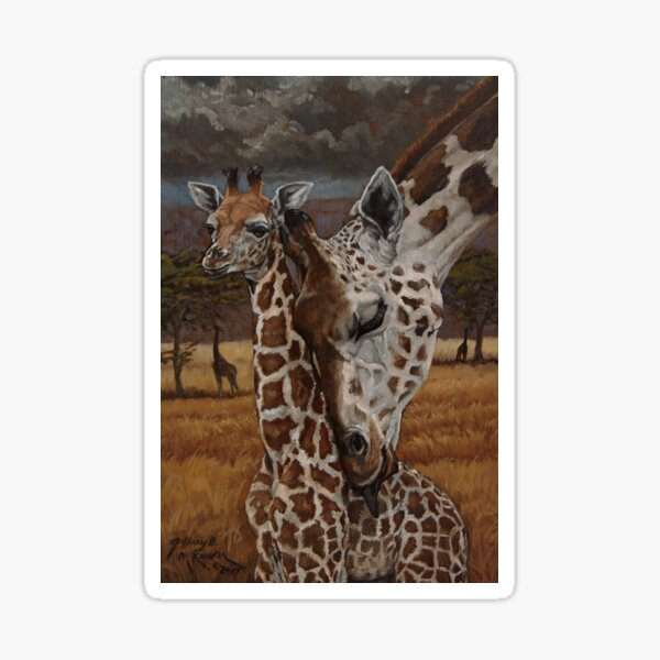 Mommy and young Giraffes Oil Painting Sticker