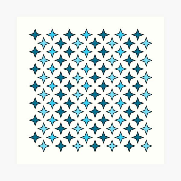 Blue star pattern on white background, star pattern composition Art Print