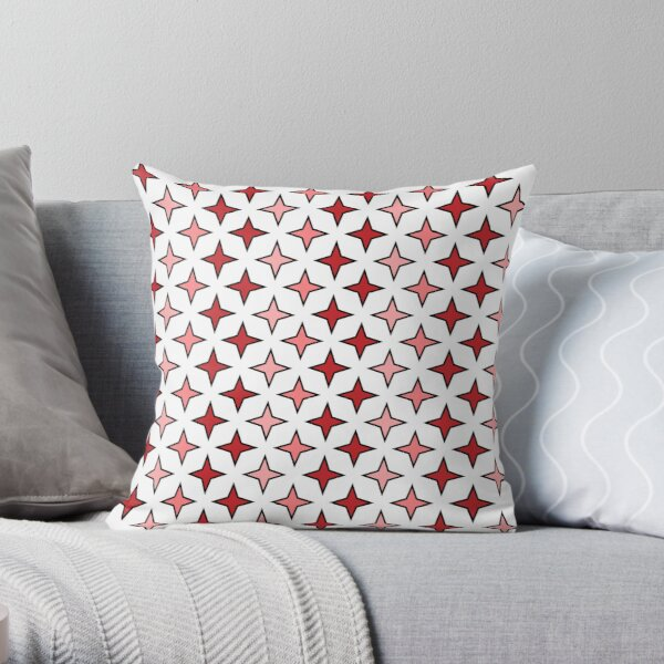RED STAR PATTERN white background Throw Pillow