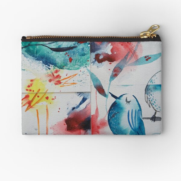 Watercolour Collage Abstract birds Zipper Pouch