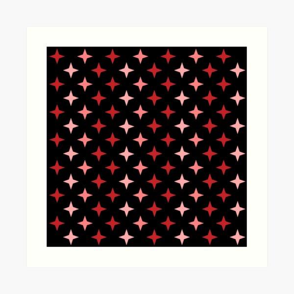 Motif étoile rouge sur fond noir, composition motif étoile Impression artistique