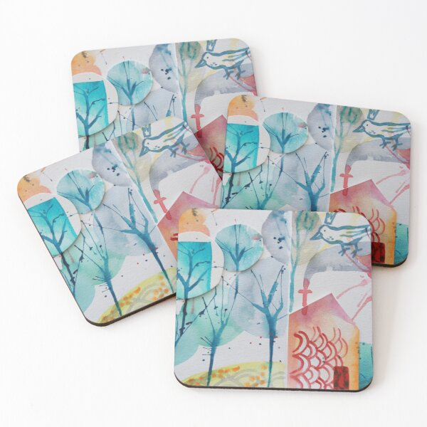 Watercolour-collage Abstract house Coasters (Set of 4)