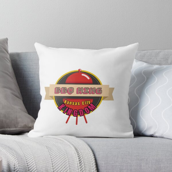 BBQ King of Kansas City Kingdom Smoker Grill funny design Throw Pillow