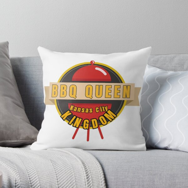 BBQ Queen of Kansas City Kingdom Smoker Grill funny design Throw Pillow