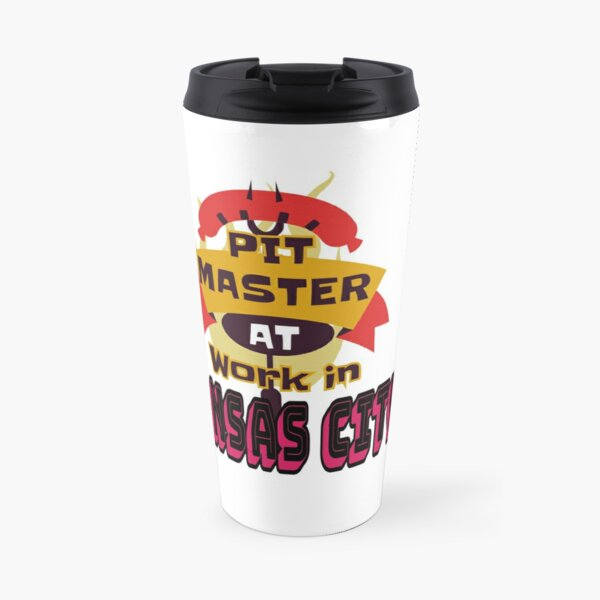 Pit Master at Work in Kansas City Kingdom Smoker Grill funny design Travel Mug