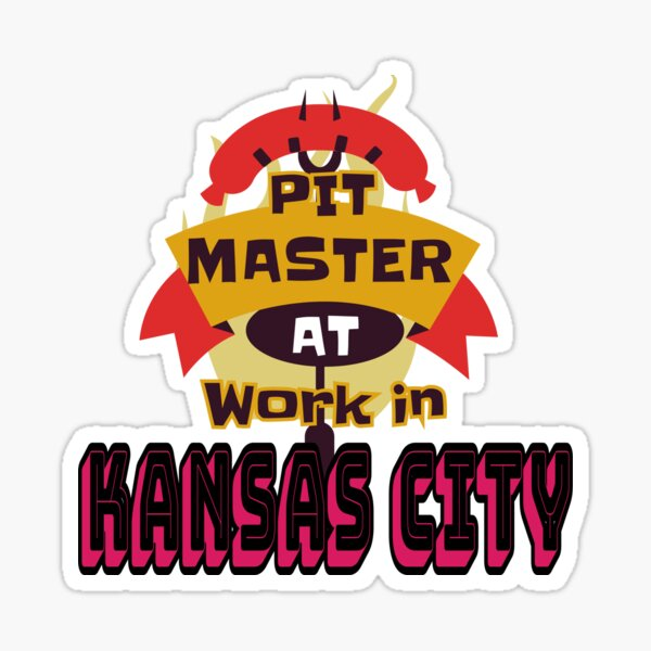 Pit Master at Work in Kansas City Kingdom Smoker Grill funny design Sticker