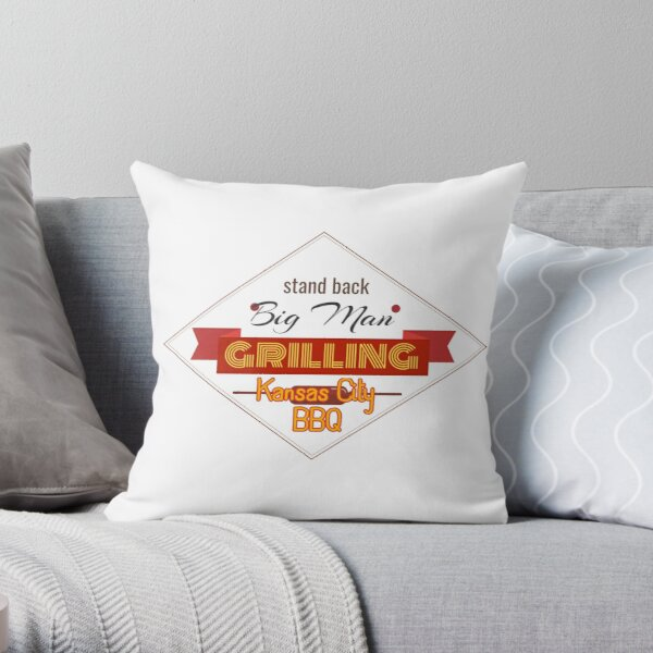 BBQ Big Man Grilling in Kansas City Smoker Grill funny design Throw Pillow