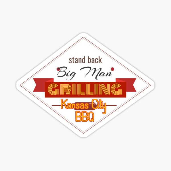 BBQ Big Man Grilling in Kansas City Smoker Grill funny design Sticker