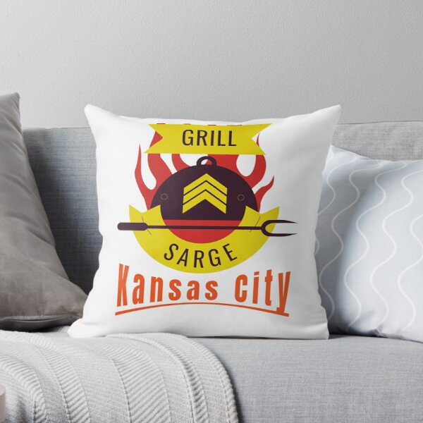 BBQ Kansas City Grill Sargent funny design Throw Pillow