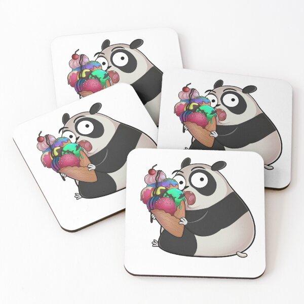 Knuddeliger Panda isst einen leckeres Eis Untersetzer (4er Set)