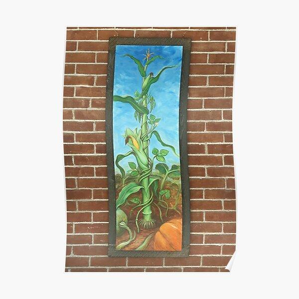 Three Sisters: Corn Beans Squash on Brick Wall Poster
