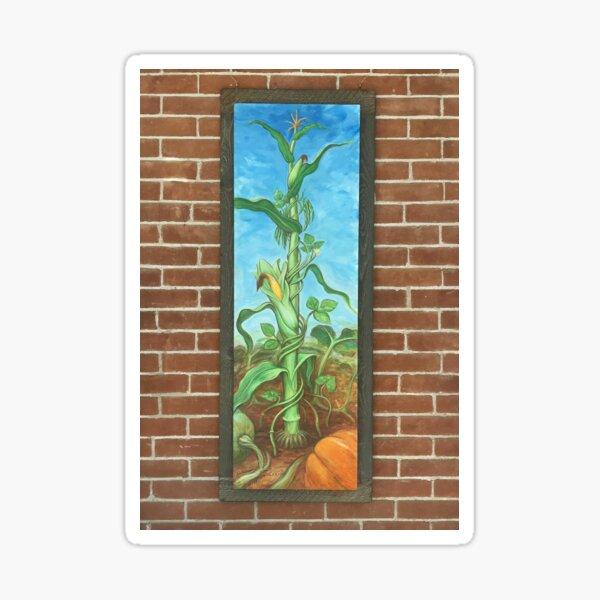 Three Sisters: Corn Beans Squash on Brick Wall Sticker