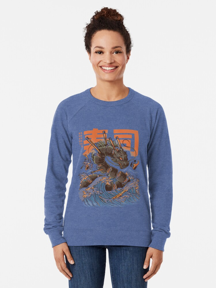 Alternate view of Great Sushi Dragon  Lightweight Sweatshirt