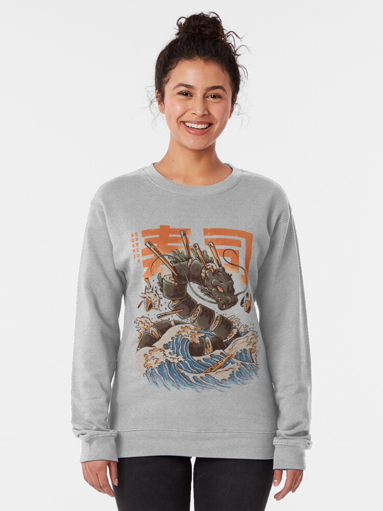 Alternate view of Great Sushi Dragon  Pullover Sweatshirt