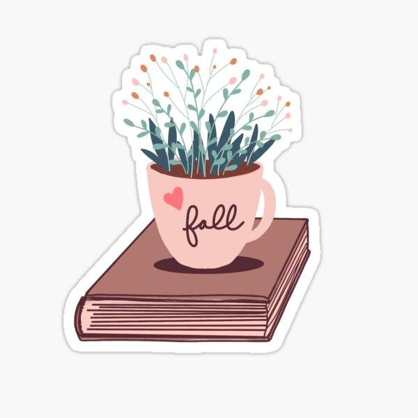 Love Fall Mug with Flowers on Book Sticker